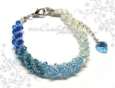 Swarovski bracelet, Blue shade twisty Swarovski Crystal Bracelet by CandyBead