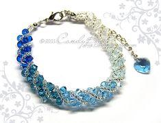 Swarovski bracelet, Blue shade twisty Swarovski Crystal Bracelet by CandyBead