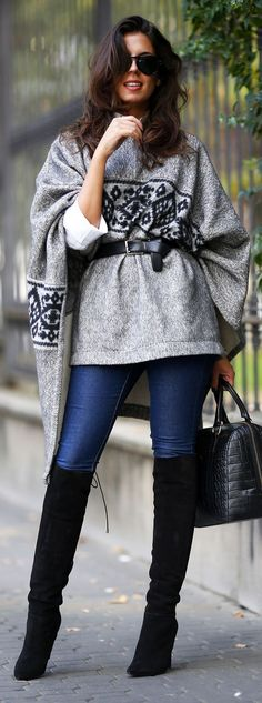 Embroidered Grey Cape Fall Inspo #Fashionistas