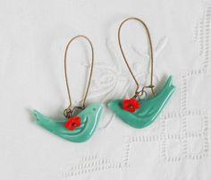 Blue BIRD Red Flower Earrings