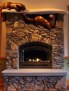 River Otters...fireplace mantel idea