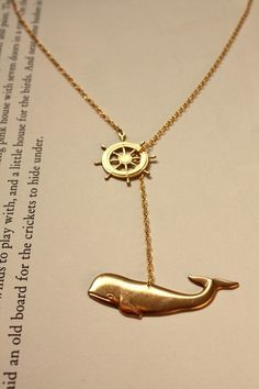Whale and ship's wheel necklace