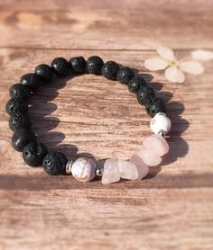 Lava Bead, Bracelet, Rose Quartz, Boho Jewelry, Yoga Jewelry, Beaded Bracelet, Stretch Bracelet, Gemstone Bracelet, Love Bracelet, Agate by TheBirdandTheBeadsCo on Etsy