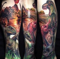 Dinosaur tattoos by Paul Acker. Wicked awesome!!!