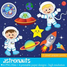 Astronauts Clip art and Digital paper set por pixelpaperprints