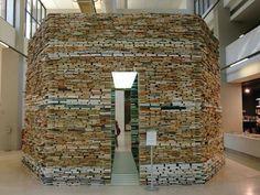 Book art by Matej Krén; Book Cell, Centro de Arte Moderna – Foundation Calouste Gulbenkian, Lisbon, Portugal, 2006. www.matejkren.cz/en