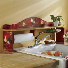 Red Rooster Plastic Bag Holder Rooster Kitchen Decor
