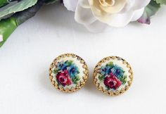 Vintage Petit Point Needlepoint Earrings by RomAntiqueSupplies, SOLD