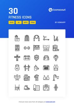 Fitness Icon Pack - 30 Line Icons Create Icon, Fitness Icon, Png Icons, More Icon, Pictogram, Icon Pack, Icon Font, Flat Design, Packing