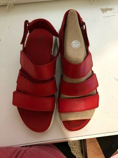 ff12f915bbf2 Ecco Womens 39 8 Red Leather Adjustable Confirt Strappy Sport Sandals Shoes   fashion  clothing  shoes  accessories  womensshoes  sandals (ebay link)