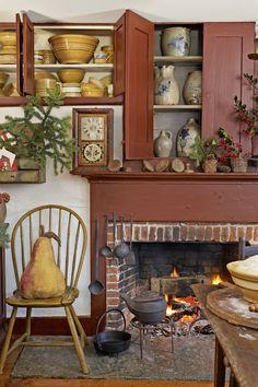Wonderful Primitive Colonial Look. Love the red paint color! Primitive Homes, Primitive Fireplace, Primitive Kitchen, Country Primitive, Country Kitchen, Country Homes, Country Living, Primitive Mantels, Rustic Fireplaces