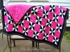 Black White and Pink Pinwheel Quilt READYTOSHIP by TheMilleShop, $300.00