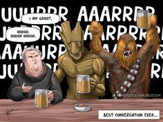 Hodor, Groot et Chewbacca entrent dans un bar