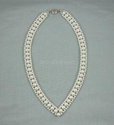 Swarovski white pearls collar necklaceBridesmaid
