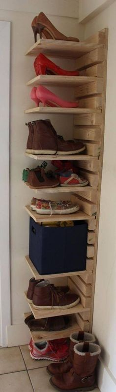 Adjustable wooden shoe rack Made to order 10 Shelf and 22 slat adjustable shoe rack made from heavy duty plywood and spruce. Height / width / shelf depth / total depth Shoe rack delivered with a plain wood finish and not pre drilled unless requested.