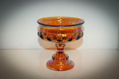"""5"""" Carnival Glass Wedding Bowl made by Indiana Glass 1970's"""