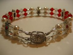 Hot Red Bracelet. Swarovski pearsl and crystals.