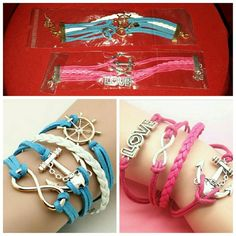 2 Infinity Anchor Nautical Bracelets Last 2! Each bracelet is listed individually as $7 each. The blue bracelet has an anchor, infinity, and ship wheel charms. The pink bracelet has an anchor, infinity, and love charms.  Both are brand new in packages. Price is firm. Jewelry Bracelets