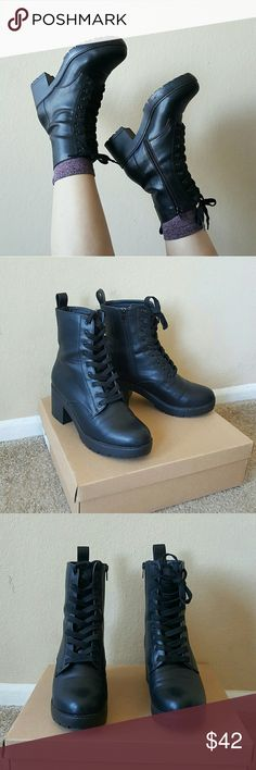 """Urban Outfitters Faux Leather Heeled Combat Boots No trades  Cross posted  Bundle to save!  In great condition with minimal wear such as light scruffs and scratches. Only worn twice, but ended up being a bit narrow for me. Size is a 7, but according to the site, these run a half size big. Marked as 7.5 since I do believe they run as such. Heel height is about 2.5"""". Retailed for  $80 + tax.   Please, no swap requests.   #goth #gothic #witchy #chunkyboots #punk Urban Outfitters Shoes Combat…"""