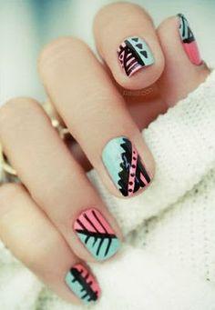 Can't get enough of these tribal print nail designs....  #nailart #naildesign #nails #nailpolish #beauty #tribalnails #aztec #summernailart #springnailart
