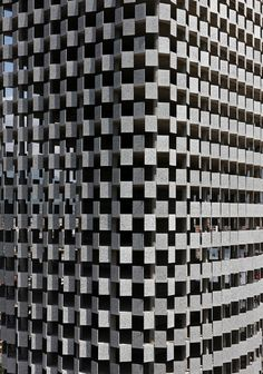 The distinctive sunshade design of the multipurpose tower, Tirana.