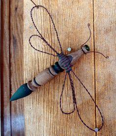 Dragonfly yard garden ornament old wood by SomethingPrettyGifts, $29.95