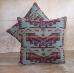 Pillows Pendleton Wool Fabric Sage Mint Native by RobinCottage Western Crafts, Western Decor, Rustic Decor, Wool Pillows, Throw Pillows, Inside A House, Tiny House, Pendleton Fabric, Native American Patterns