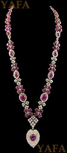Best Diamond Bracelets  : DAVID WEBB Cabochon RubyEmerald and Diamond Necklace  Yafa Jewelry