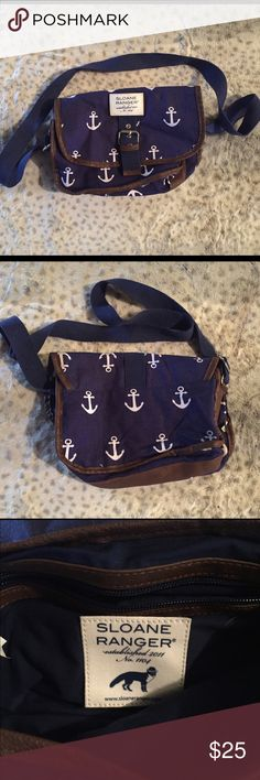 Sloane Ranger Anchor cross-body bag Cotton/leather, gently used Bags Crossbody Bags