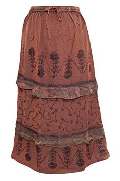 #SKIRTS #GYPSY #MAXISKIRT Women's Peasant Skirt, Brown Stonewashed Embroidered Rayo... http://www.amazon.com/dp/B01EV09QJ0/ref=cm_sw_r_pi_dp_1FDlxb19G5MRV