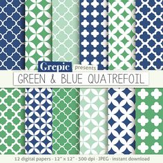 "Quatrefoil digital paper: ""GREEN & BLUE QUATREFOIL"" with blue and green colors and clover / quatrefoil patterns, great for boys parties #etsy #scrapbooking"