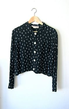 Pretty Black Fruit Patterned 90's Blouse by asecretshop on Etsy, $28.00