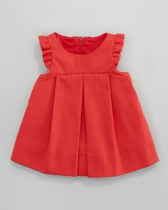 Florence Eiseman - Plain Pincord Flutter-Sleeve Dress, Red, 3-9 Months