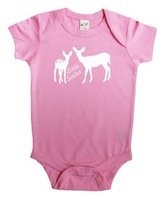 Pink 'Little Sister' Deer Bodysuit - Infant #zulily #zulilyfinds