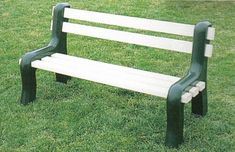 Vinyl Park Bench from DutchCrafters Amish Furniture. Front yard, back yard, or park, our Vinyl Park Bench is made-to-order in a few different color options and comes a manufacturer's lifetime warranty. #outdoorbench #frontporch #seating #garden #inyard