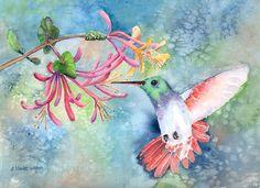 hummingbird paintings | Hummingbird Painting by Arline Wagner - Little Hummingbird Fine Art ...