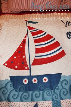 Loving the waves on this nautical quilt Bright Quilts, Colorful Quilts, Small Quilts, Mini Quilts, Baby Quilts, Bird Applique, Embroidery Applique, Pirate Quilt, Coastal Quilts