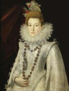 Follower of SÁNCHEZ COELLO Alonso, ca 1531-1588/90 (Spain) Portrait Of A Lady, Half Length, Wearing A White Richly Embroidered Dress And Holding A Necklace