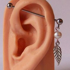 "Leaf Industrial Barbell 14G 1 1/2"" Surgical Steel Piercing Ear white faux pearl #Unbranded"