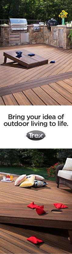 Bring your ideas of outdoor living to life with #Trex decking and railing. Decks are a perfect place to play outdoor games with the family. These beanbag toss boards are made out of Trex composite boards as well.