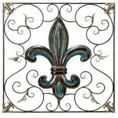 Fleur De Lis Wrought iron turquoise/brown fleur de lis wall accent #fleurs