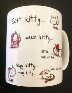 Soft Kitty Mug with Personalised Name or message by (my coffee cup I WILL be using) and like OMG! get some yourself some pawtastic adorable cat shirts, cat socks, and other cat apparel by tapping the pin! Crackpot Café, Diy Becher, Diy Cadeau, Sharpie Crafts, Sharpie Mugs, Diy Mugs, Cool Mugs, Funny Mugs, Mug Designs