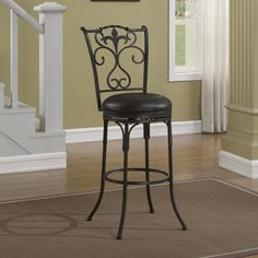 Scrollwork like you see on the American Woodcrafters Accadia Bar Stool was once only available in wrought iron furniture for your patio or in prohibitively. Bar Stools For Sale, Cool Bar Stools, Bar Stools With Backs, Metal Bar Stools, Kitchen Islands For Sale, Stools For Kitchen Island, Swivel Counter Stools, Counter Height Bar Stools, Wrought Iron Bar Stools