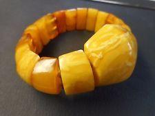 Vintage Large Impressive Baltic Amber Egg Yolk Beeswax Royal White Bracelet