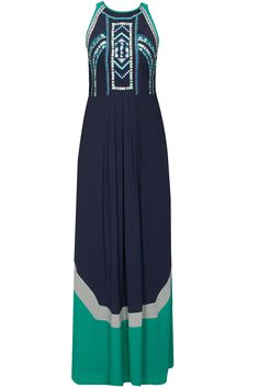 Navy and mint colour blocked embroidered maxi by Rana Gill. Shop at: www.perniaspopups.... #maxi #ranagill #clothing #shopnow #perniaspopupshop #happyshopping.