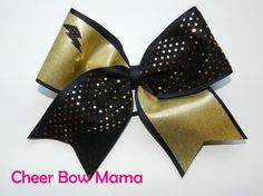 Black & Gold Lightning Cheer Bow by Cheer Bow Mama