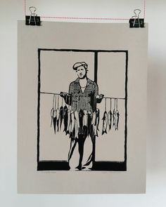 Linocut print inspired by Mike Disfarmer's vintage photograph