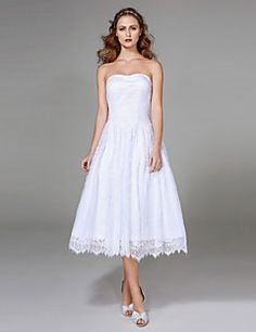 2017+Lanting+Bride®+A-line+Wedding+Dress+-+Classic+&+Timeless+Little+White+Dresses+Tea-length+Strapless+Lace+with+Ruche+–+CAD+$+492.69