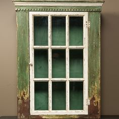 This gorgeous green rustic cupboard has a window pane door and looks like a salvaged farmhouse kitchen cupboard. Visit Antique Farmhouse to see more rustic kitchen cupboards or spice cabinets. Lemon Kitchen Decor, Kitchen Decor Signs, Kitchen Ideas, Quirky Kitchen, Copper Kitchen, Rustic Country Kitchens, Rustic Kitchen Design, Tips And Tricks, Antique Farmhouse