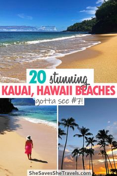Planning a vacation to Kauai Hawaii? These beaches are a must-see while in Hawaii! From the white sand beaches of the south shore to the majestic coast on the north shore, this guide will show you the best beaches. Hidden spots included! | Kauai Hawaii | Hawaii Vacation | Best Beaches in the USA | Island Getaway | Kauai Beaches Hawaii Vacation, Hawaii Travel, Asia Travel, Travel Usa, Hawaii Hawaii, Best Honeymoon Destinations, Best Vacations, Travel Destinations, Travel Info